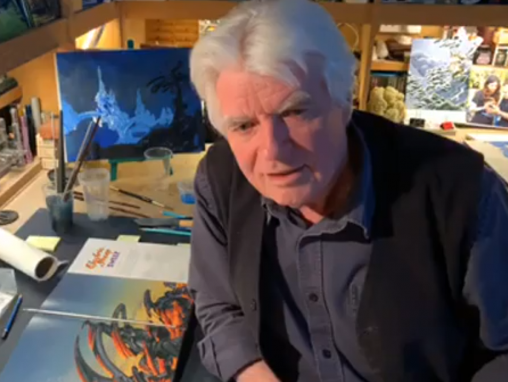 Roger Dean styles and paints the brand-new Yes album cover reside on Facebook
